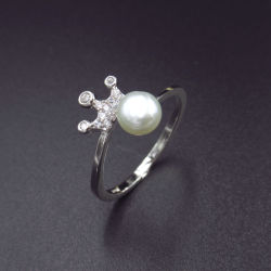 Минималистский стиль один серебряный Royal Crown формы кубических обедненной смеси Pearl кольцо
