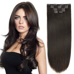 100% من نوع الإنسان الحقيقي والشعر الروسي ريمي الشعر الطبيعي وصلات تمديد مشابك التثبيت