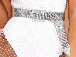 섹시한 호화스러운 밝은 모조 다이아몬드 Bling 수정같은 다이아몬드 허리 톱니 바퀴용 체인