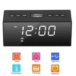 Digitale Wekker met het Radio, Dubbele Alarm van de FM, het Dubbele Laden van de Haven USB