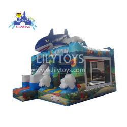 Надувные теме океана Bouncer Combo с синим цветом мультфильм Bouncer акул в детстве горячая продажа