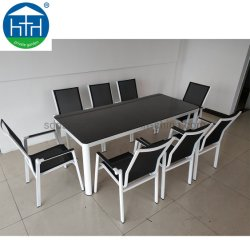 Jardim Polywood moldura em alumínio de madeira e metal mesa de jantar e cadeira Mobiliário de exterior