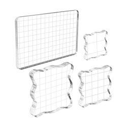 Blocchi di stampa blocchi acrilici trasparenti Strumenti con linee a griglia Per fare artigianato Scrapbooking