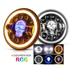 Angel Eye Daymaker 오토바이 프로젝터 LED 헤드램프 RGB Round Jeep 7인치 LED 헤드라이트