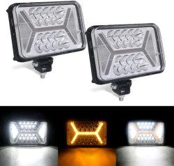 4X6, faros LED Super brillante de color ámbar + luces blancas en forma de H de marcador/DRL 132W LED chips 3030 de la luz de la carretilla luz LED de trabajo para los vehículos