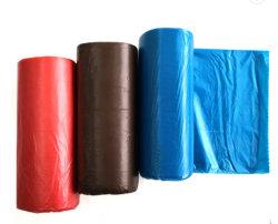 حقيبة ملوّنة مخصصة من النفايات البلاستيكية HDPE، حقيبة النفايات المصنعة باللفة