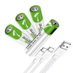 새로운 디자인의 2400mSize AAA 1.5V 고정 전압 출력 USB 리튬 충전식 배터리 셀 제조