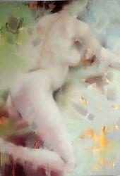 Chica desnuda en la pintura al óleo