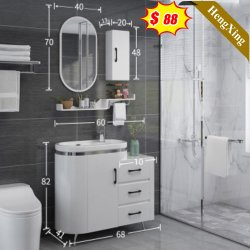 طراز حديث بسيط ومثبت بالأرضية على شكل حوض تخزين المرايا الخشبية خزانة الحمام