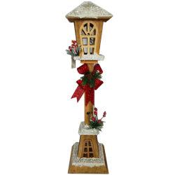 Comercio al por mayor altura la santa Navidad decoración linterna LED se encienden de madera