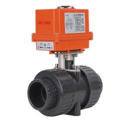 Estremità elettrica impermeabile del sindacato del PVC di IP67 DC24V la doppia ha motorizzato la valvola a sfera Dn25