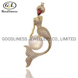 هوتسايل يلو جولد/روديوم Plated 925 Sterling Silver Pearl&CZ Mermaid Brooches (B041)