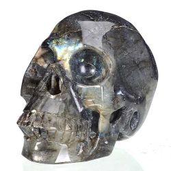 Cristal Pedra Labradorite Natural Crânio humano para entalhar decoração Escultura 11b39