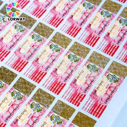 Rollblatt Barcode Qr Code Seriennummer Metallic Gewinde Position Heißstempeln Hologramm Rot Grün Blau UV sichtbar unsichtbar Aufkleber Aus Sicherheitspapier Für Glasfaserkabel