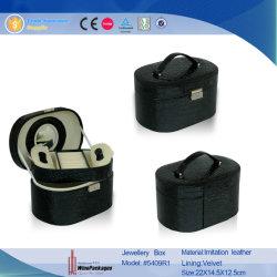 Contenitore di monili Pendant delle coperture di cuoio nere lussuose del braccialetto (5409R1)