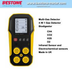 Biomethaneのガスのパーセントをテストする携帯用CH4二酸化炭素H2s O2のBiogasの探知器はBiodigestorによって作り出した。 1つのMulitガスの探知器の4