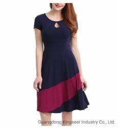 Frauen-Sommer-Kleid der Form-Dame-Polyester Cotton Silk Stripe