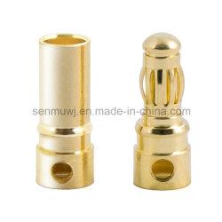 Venda por grosso Parte maquinado CNC, empilhável banhados a ouro 24K plug banana ao adaptador macho/ conector do cabo do alto-falante da tomada de áudio