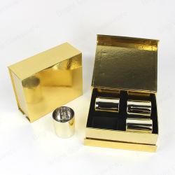 Vidro ouro jarros de vela definida com o luxo de pé magnético da caixa de embalagem