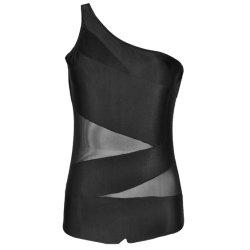 Cintura alta negro subir una pieza Tamaño Plus trajes de baño