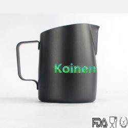 Acciaio inossidabile rivestito di teflon nero 304 18/8 tazze del latte di arte di Latte del caffè