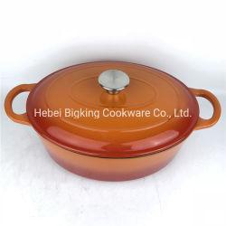 طبق قدح بيضاوي من الحديد المصبوب مع مقبض الغطاء بكامله