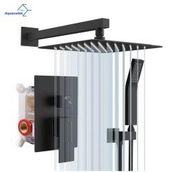 Casa de banho com duche confinado a válvula do sistema e conjunto de guarnição Preto Mate a torneira de latão conjunto chuveiro de efeito chuva com o dispositivo portátil