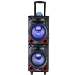 "Dual8"" Mobile Home Theater PRO تروللى ميكروفون لاسلكي متعدد بتقنية Bluetooth بطارية LED كاريوكي سماعة عالية مع كرة Disco متعددة الألوان متعددة الوسائط مجهار الترددات المنخفضة"