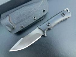 Lâmina Fixa direito exterior de aço inoxidável Stonewashed Faca reta da faca de Campo Camping Faca com G10 Cintura da alavanca freio de bainha de Kydex EDC (Preto)