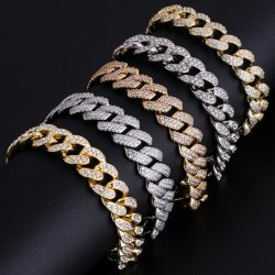 Custom Diamond RVS Twisted Miami Iced out Jewelry 18K Gold Plated Tennis Cubaanse Link Chain Armband voor heren