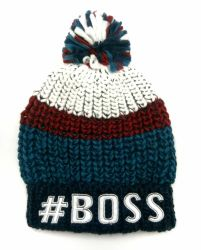 Bou의 겨울 자수 & 극지 양털 안대기를 가진 온난한 땅딸막한 니트 줄무늬 모자 모자