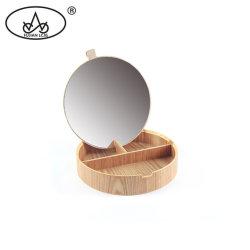 木の宝石のネックレスコンパートメント円形のオルガナイザーの記憶のギフト型の宝石箱