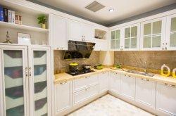 Cor de madeira maciça luxuoso mobiliário de cozinha Armários de cozinha com prateleira de Gabinete em alumínio