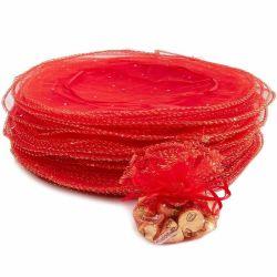 Sem quantidade mínima de 25cm Organza Vermelho Dom Wrap para embalagens de doces