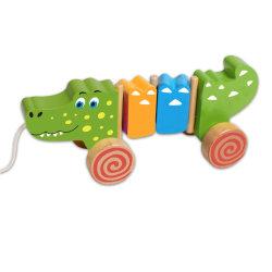 赤ん坊および子供のためのかわいい引きのワニの幼児の木のおもちゃ