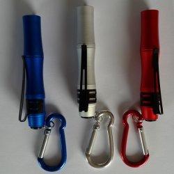 Lampes de poche LED en aluminium de plein air personnalisé avec mousqueton