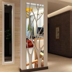Nouveau style décoratif miroir mural arbre auto-adhésif autocollant mural