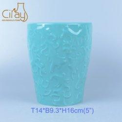 5 pouce céramique bleu glacé gaufré ronde le semoir