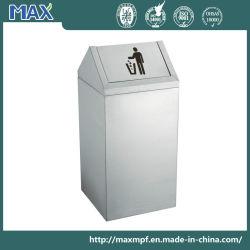 Gire a tampa de aço inoxidável abastecido de caixote do lixo