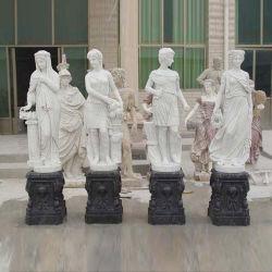 Vier Jahreszeiten der Gott-im Freien weißen Marmorsteinstatue