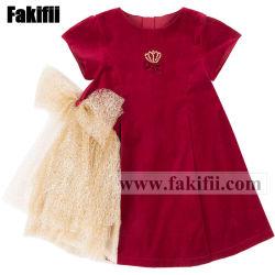BaumwollBaby-rotes Samt-Kleid-Form-Baby-Kleid 100%