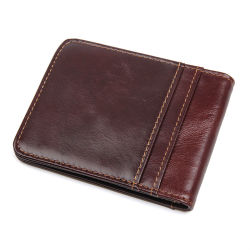 Fábrica de Guangzhou preço barato boa qualidade Couro genuíno RFID crédito Cartão carteira dinheiro clip