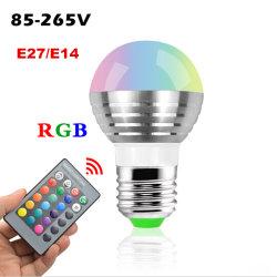 RGB E14 E27 LEDの球根を変更する3W 5Wの遠隔カラー