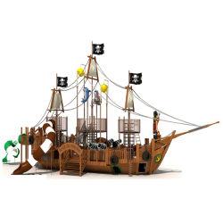 Dia van de Speelplaats van de Kinderen van de multi-activiteit de Openlucht, het Speciale Houten Schip van de Piraat