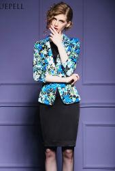 Neues Design Blumenmuster Hot Ladies Overcoat für Career Damen