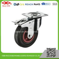 Schwarze Gummischwenker-Platte mit Bremsen-Fußrolle (P102-31D080X25S)
