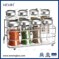 明確な9PCSガラス記憶の瓶のびんのプラスチック台所用品のふたおよび鉄の立場のガラス製品のCruetのスパイスの瓶及びびんが付いている中国のスパイスセット