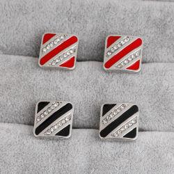 Las fábricas chinas Crear flash rojo y negro diseño cuadrado con cristal de botón del manguito
