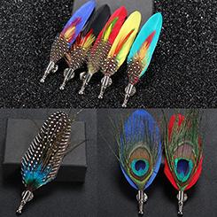 Feather Brooch Épinglette Handmade Hommes Femmes Nouveauté broches Épinglettes