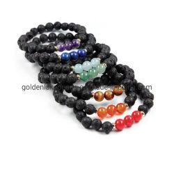 Gemstone Lava Semi-Precious cordon bracelet Bracelet avec Tiger Eye 8mm